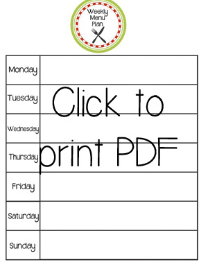 Menu Plan Printable Click to Print