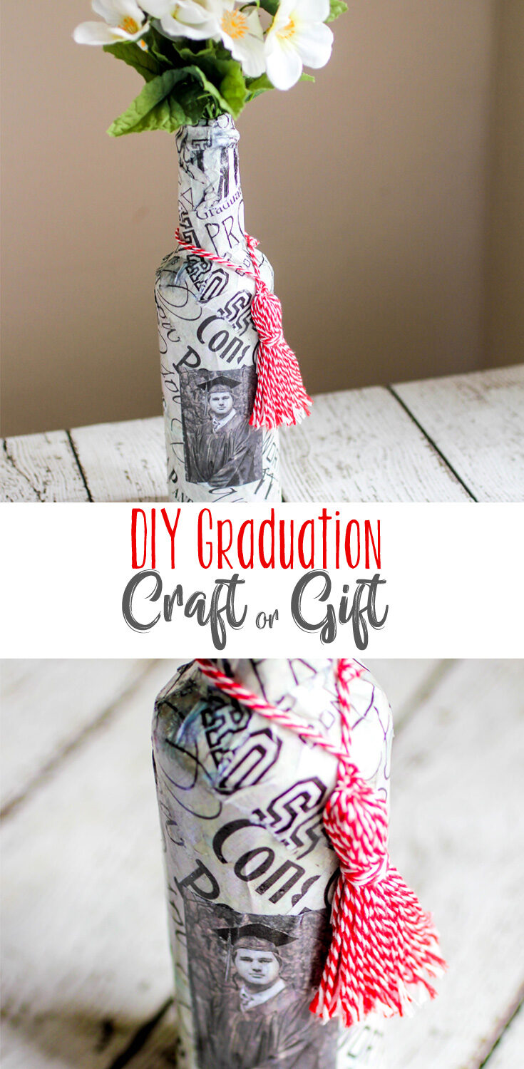 DIY Graduation Gift or Craft. This project is super easy and can be used for all sorts of gift ideas. This vase features the graduate, his tassel, and a fond memory.