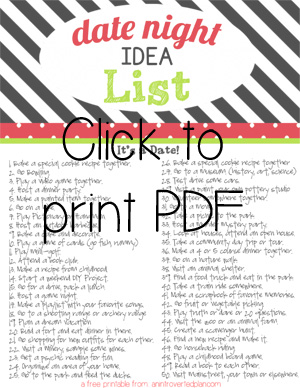 Date Night Idea List Printable An Introverted Plan