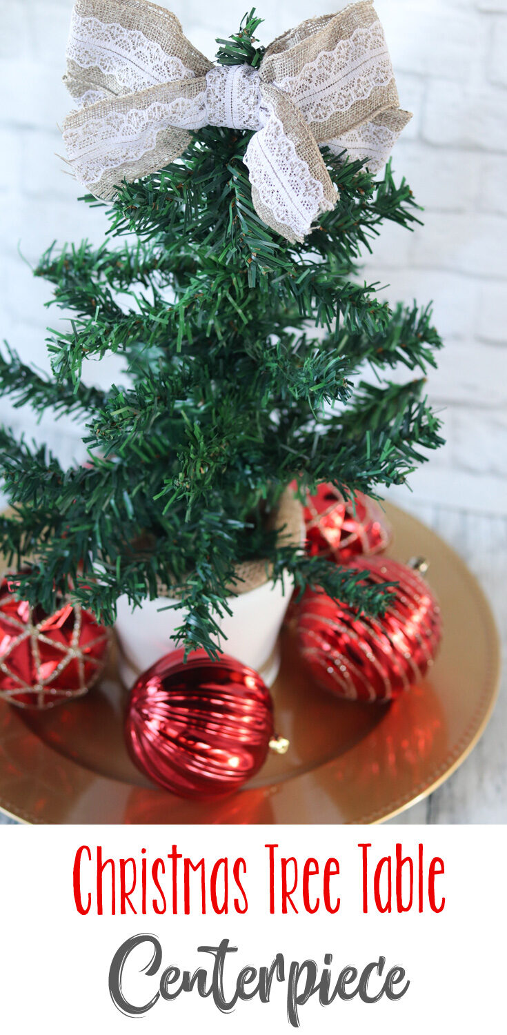 This Christmas Tree Table Centerpiece is incredibly versatile. It's very easy, looks elegant, can be customized to fit your own decor and can go just about anywhere you want it in your home. #sponsored #DollarTreeHoliday #DollarTreeDIY